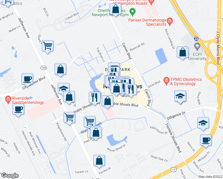 map of restaurants, bars, coffee shops, grocery stores, and more near 11820 Merchants Walk in Newport News