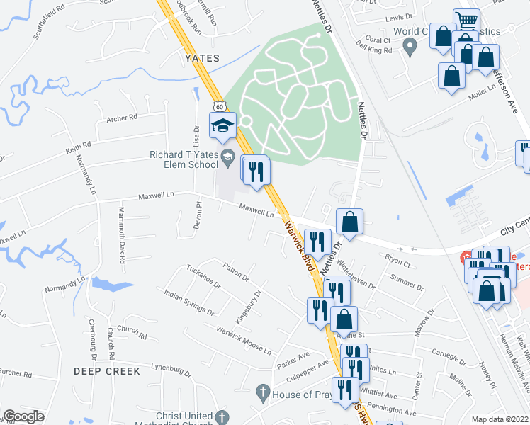 map of restaurants, bars, coffee shops, grocery stores, and more near 46 Maxwell Ln in Newport News