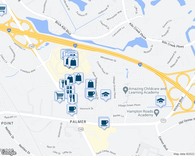 map of restaurants, bars, coffee shops, grocery stores, and more near 643-673 River Bend Court in Newport News