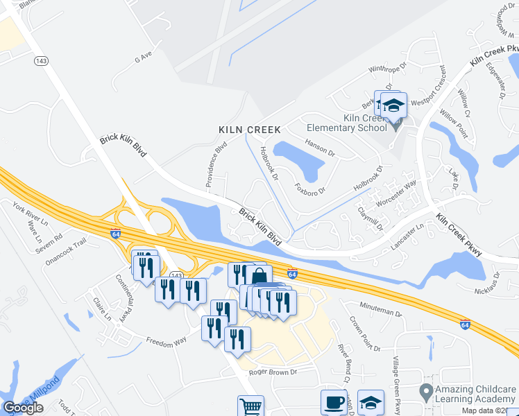 map of restaurants, bars, coffee shops, grocery stores, and more near 739-741 Brookside Drive in Newport News