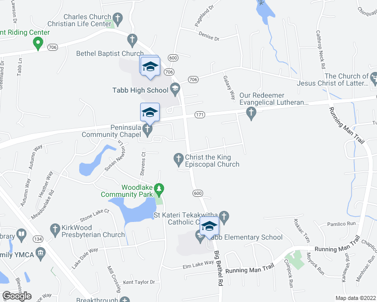 map of restaurants, bars, coffee shops, grocery stores, and more near 4223-4289 Big Bethel Rd in Yorktown