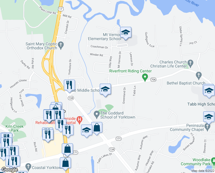 map of restaurants, bars, coffee shops, grocery stores, and more near 101 Villa Way in Yorktown