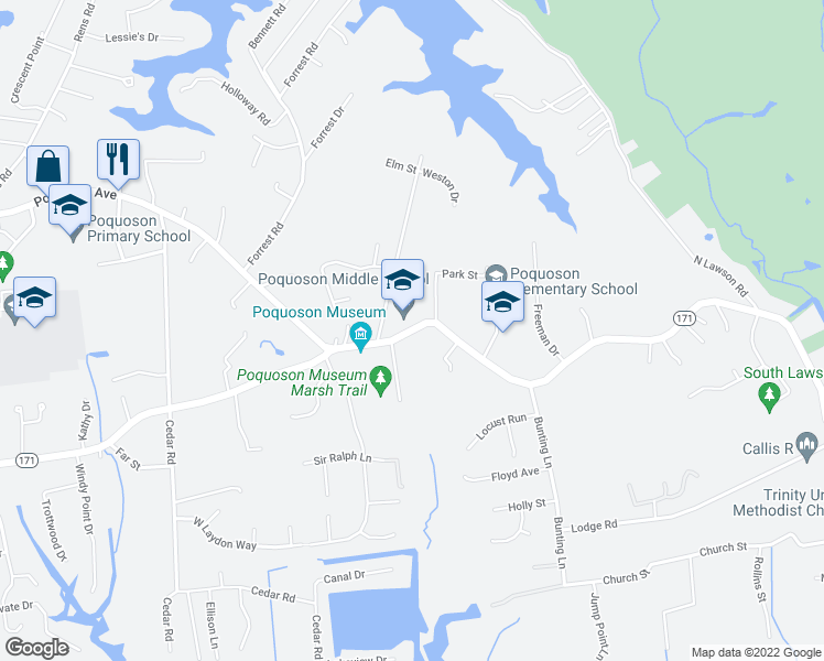map of restaurants, bars, coffee shops, grocery stores, and more near 988 Poquoson Avenue in Poquoson
