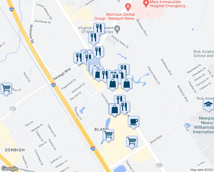 map of restaurants, bars, coffee shops, grocery stores, and more near 12765-12775 Jefferson Avenue in Newport News