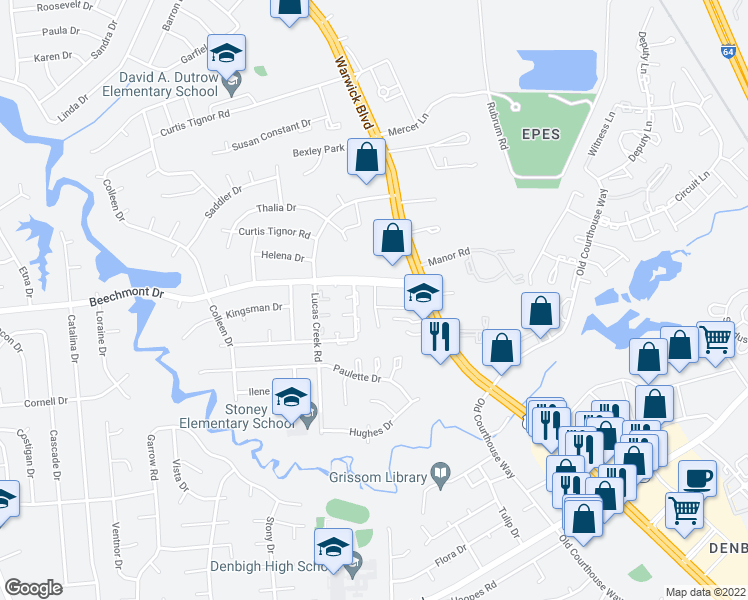 map of restaurants, bars, coffee shops, grocery stores, and more near 301-399 Willow Bend Court in Newport News