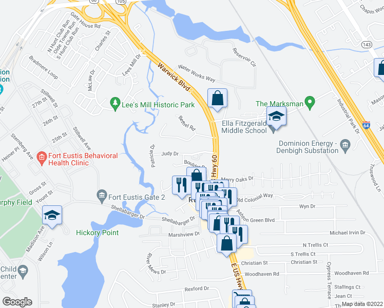 map of restaurants, bars, coffee shops, grocery stores, and more near 331 Judy Drive in Newport News