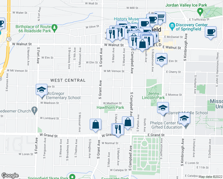 map of restaurants, bars, coffee shops, grocery stores, and more near 600 West State Street in Springfield