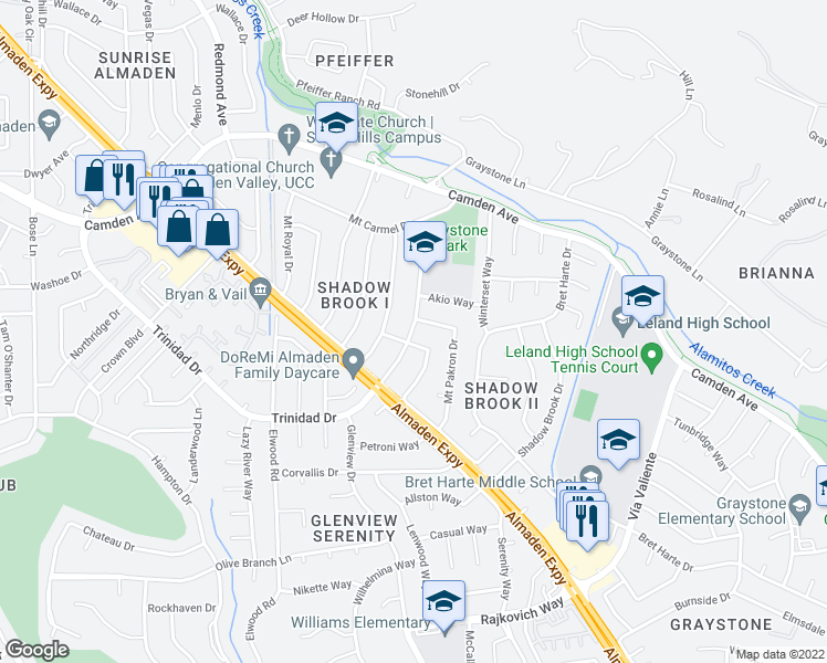 map of restaurants, bars, coffee shops, grocery stores, and more near 6848-6850 Trinidad Drive in San Jose