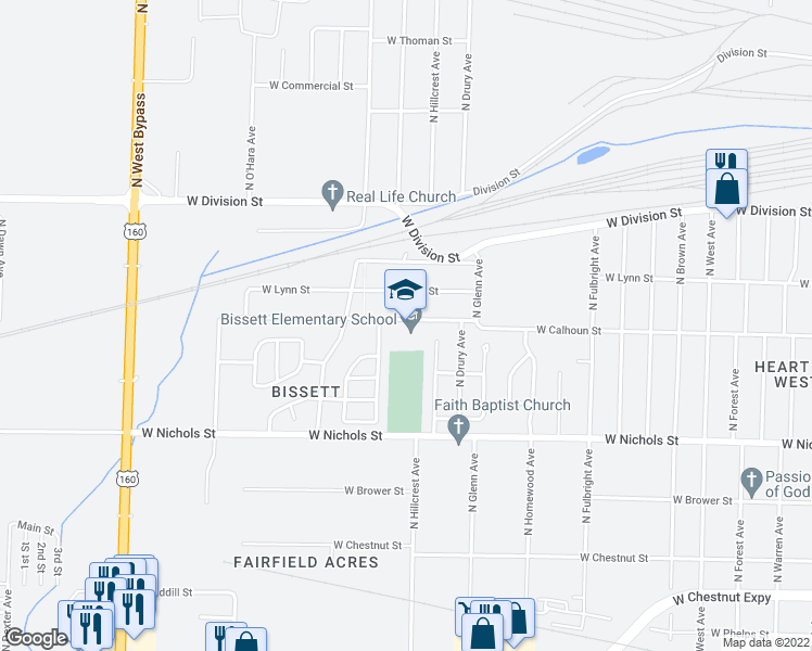 map of restaurants, bars, coffee shops, grocery stores, and more near 3014 West Calhoun Street in Springfield
