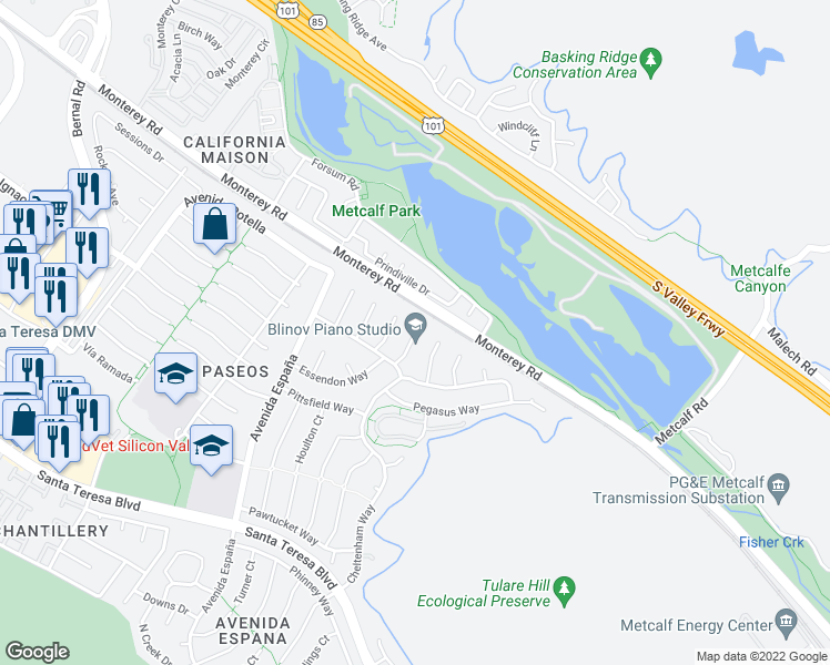 map of restaurants, bars, coffee shops, grocery stores, and more near 20 Gosford Ct in San Jose