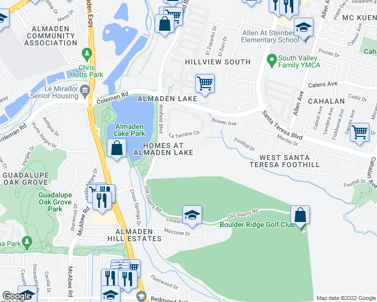 map of restaurants, bars, coffee shops, grocery stores, and more near 924-930 Almaden Lake Drive in San Jose