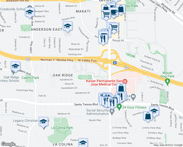 map of restaurants, bars, coffee shops, grocery stores, and more near 150 Palm Valley Boulevard in San Jose