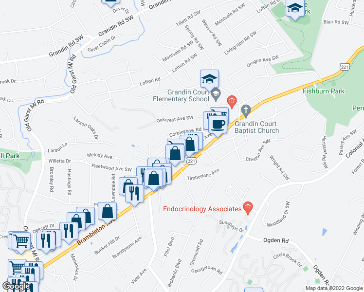 map of restaurants, bars, coffee shops, grocery stores, and more near 3026 Corbieshaw Road Southwest in Roanoke