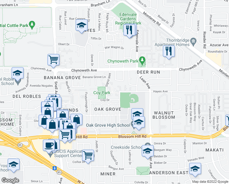 map of restaurants, bars, coffee shops, grocery stores, and more near 198 Teak Grove Ct in San Jose