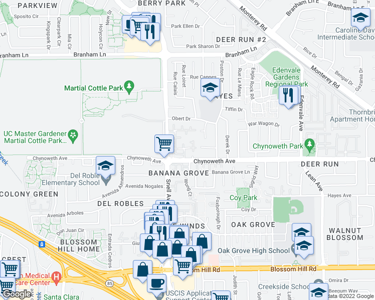 map of restaurants, bars, coffee shops, grocery stores, and more near 2502 Olivegate Lane in San Jose