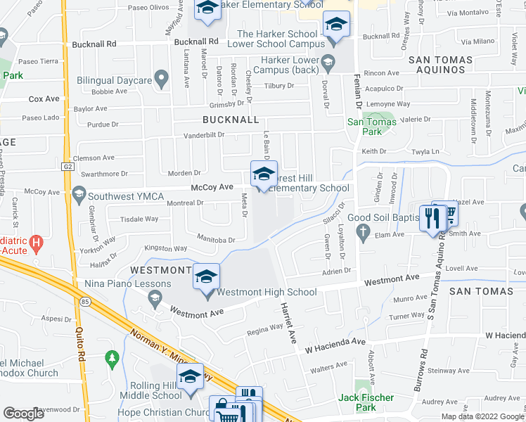 map of restaurants, bars, coffee shops, grocery stores, and more near 2620 Meta Drive in San Jose