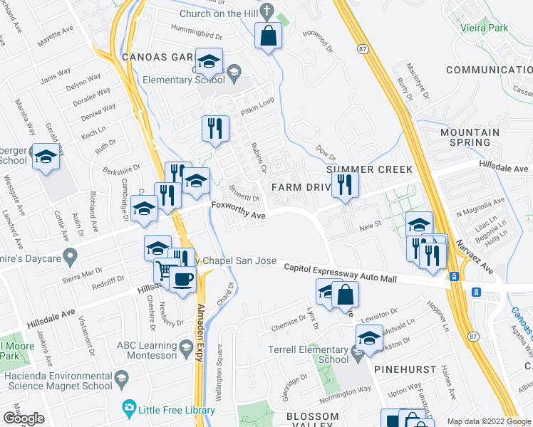 map of restaurants, bars, coffee shops, grocery stores, and more near Foxworthy Ave & Rubino Dr in San Jose
