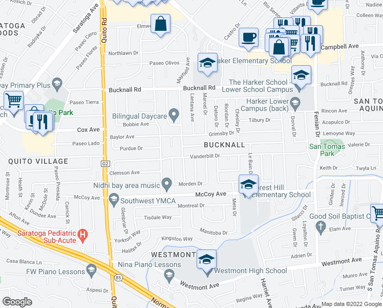 map of restaurants, bars, coffee shops, grocery stores, and more near 4930 Alex Dr in San Jose