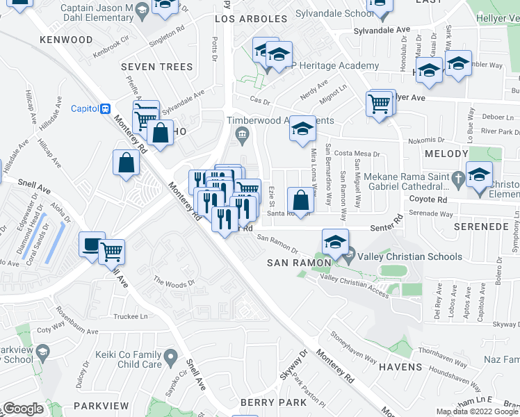 map of restaurants, bars, coffee shops, grocery stores, and more near 4023-4035 Ezie Street in San Jose