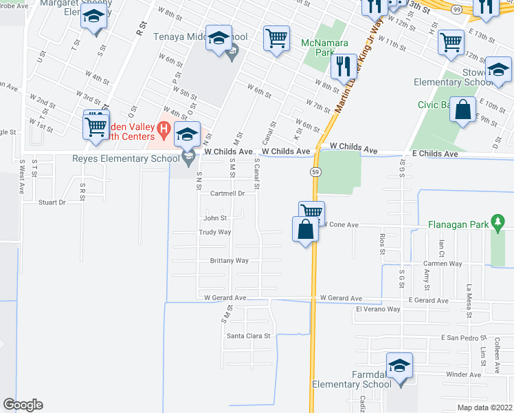 map of restaurants, bars, coffee shops, grocery stores, and more near 208 South Canal Street in Merced