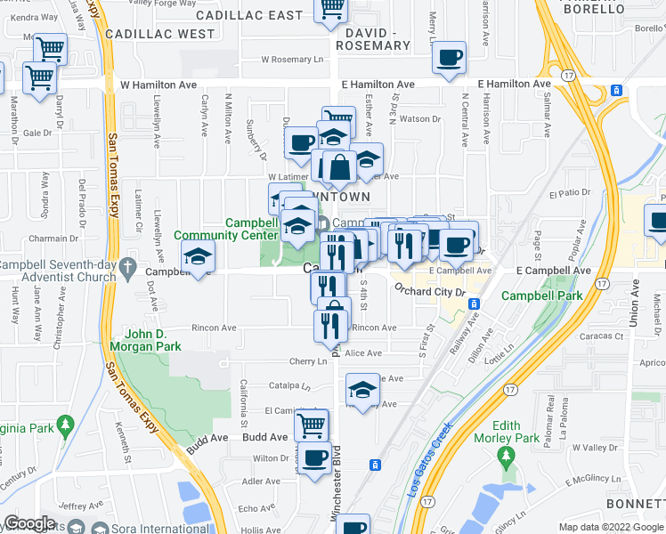 map of restaurants, bars, coffee shops, grocery stores, and more near in Campbell