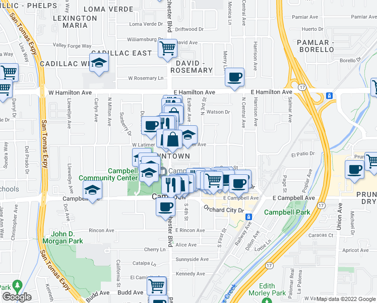 map of restaurants, bars, coffee shops, grocery stores, and more near 1 Sanderling Court in Campbell