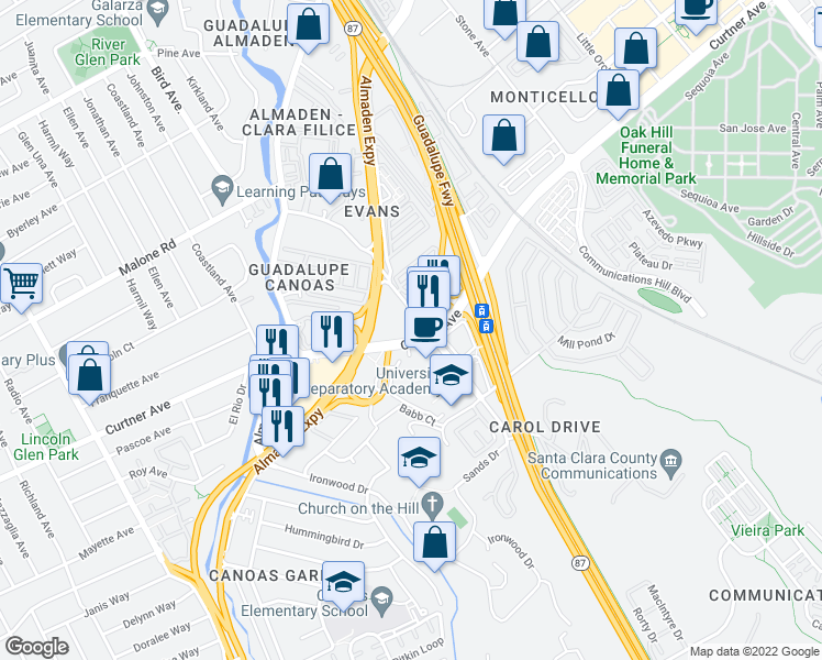 map of restaurants, bars, coffee shops, grocery stores, and more near 701 Curtner Ave in San Jose