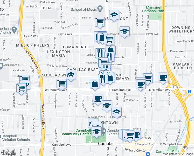 map of restaurants, bars, coffee shops, grocery stores, and more near 3150 Impala Dr in San Jose