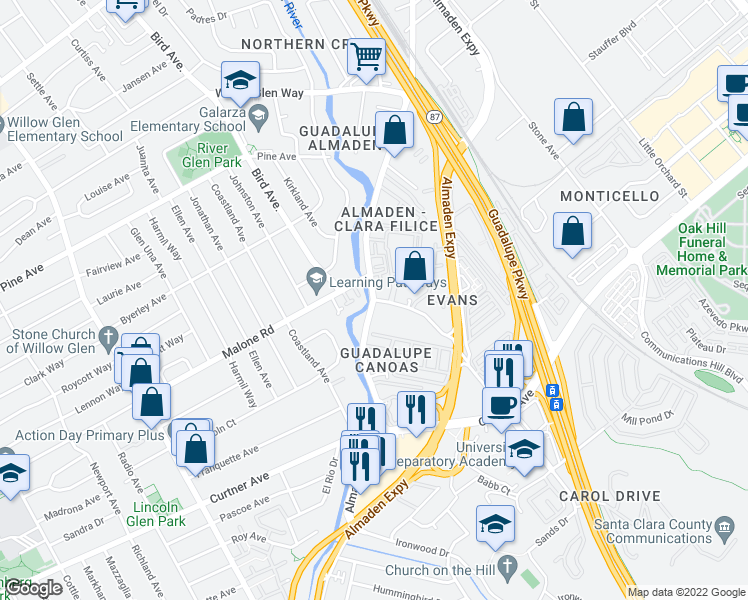 map of restaurants, bars, coffee shops, grocery stores, and more near Almaden Rd & Canoas Garden Ave in San Jose