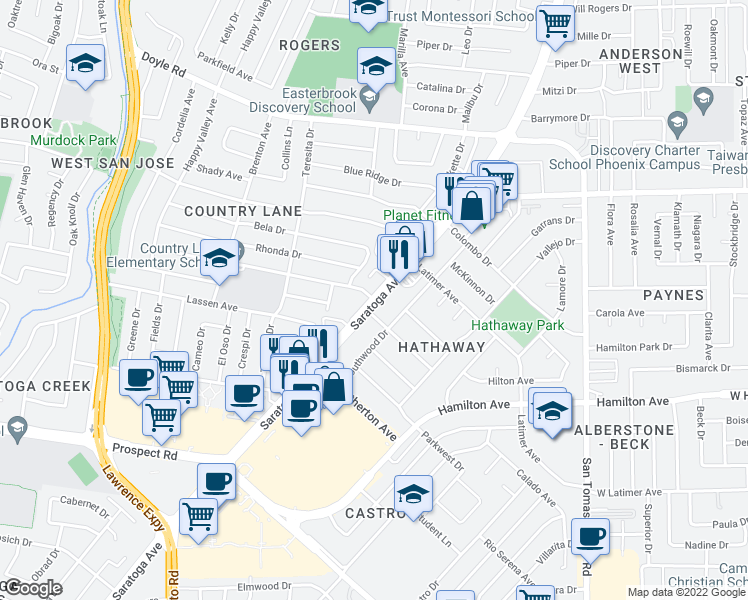 map of restaurants, bars, coffee shops, grocery stores, and more near Saratoga Ave & Country Ln in San Jose