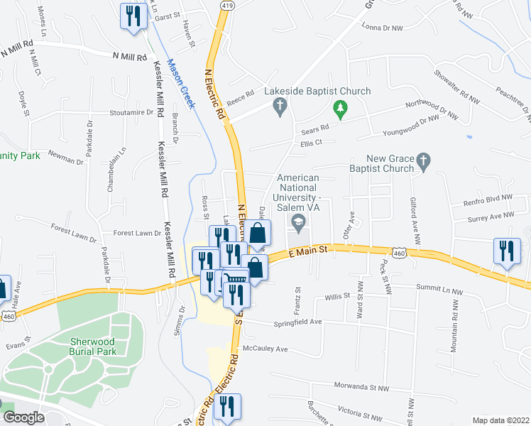 map of restaurants, bars, coffee shops, grocery stores, and more near 103 Hillmount Dr in Salem