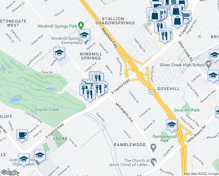 map of restaurants, bars, coffee shops, grocery stores, and more near 3145 Yakima Cir in San Jose