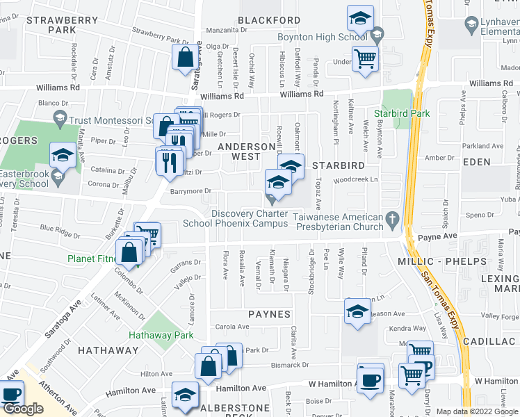 map of restaurants, bars, coffee shops, grocery stores, and more near 4083 Freed Ave in San Jose