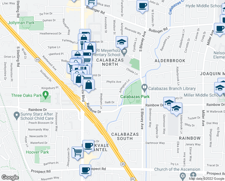 map of restaurants, bars, coffee shops, grocery stores, and more near 7098 Phyllis Ave in San Jose