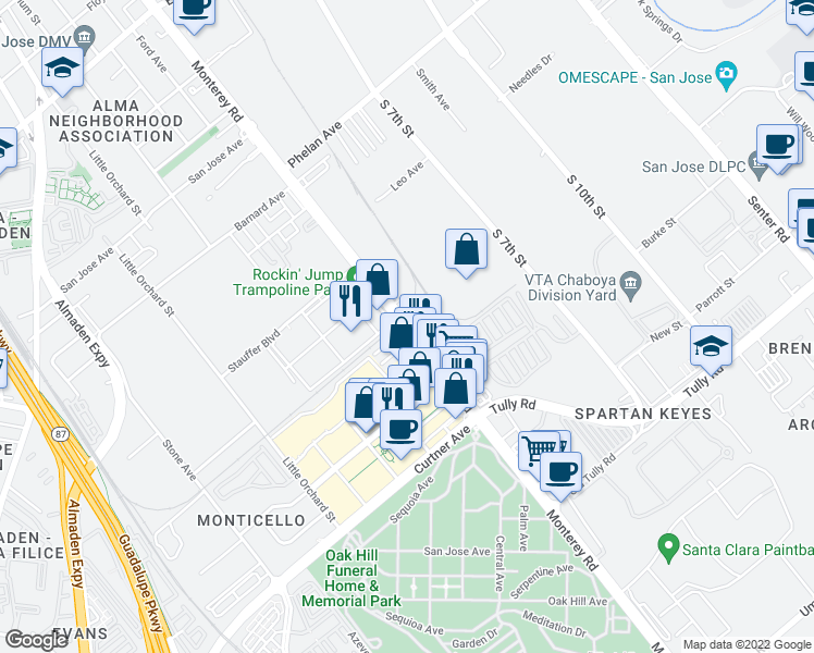 map of restaurants, bars, coffee shops, grocery stores, and more near None in San Jose