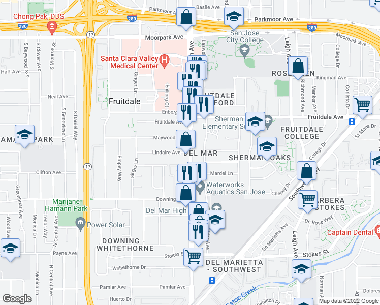map of restaurants, bars, coffee shops, grocery stores, and more near S Bascom Ave & Lindaire Ave in San Jose