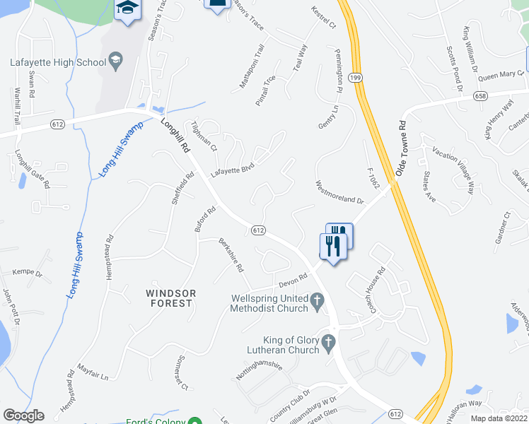 map of restaurants, bars, coffee shops, grocery stores, and more near Glenburnie Road in Williamsburg