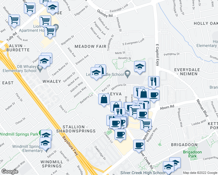 map of restaurants, bars, coffee shops, grocery stores, and more near 1786 Kyra Cir in San Jose