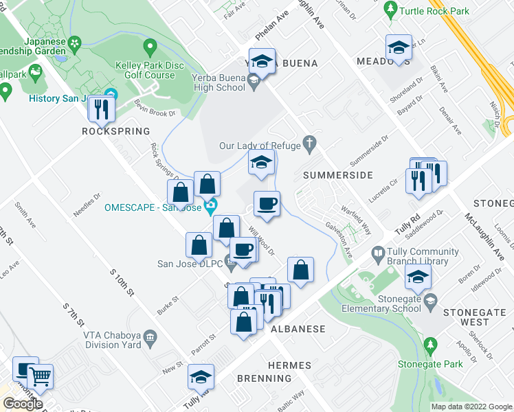 map of restaurants, bars, coffee shops, grocery stores, and more near 665 Wool Creek Drive in San Jose