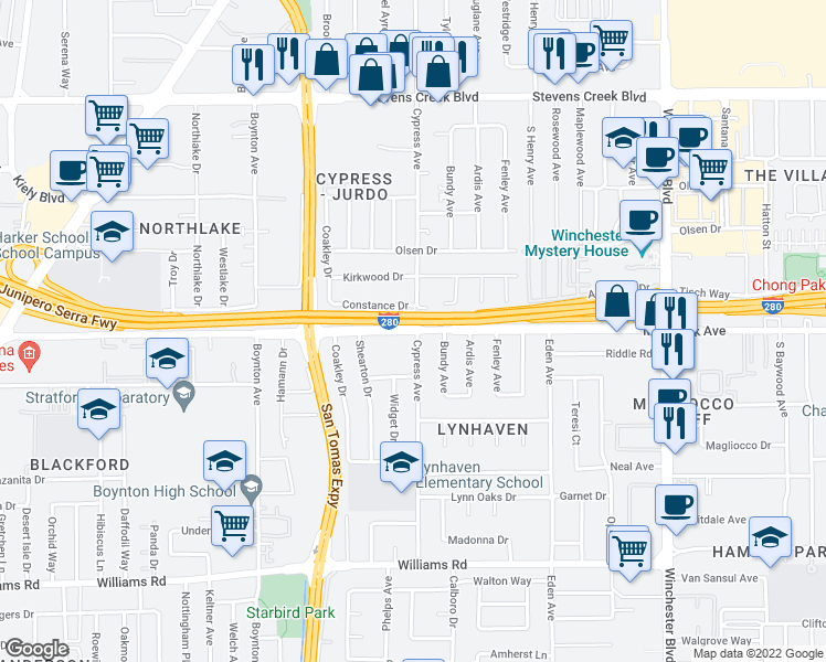 map of restaurants, bars, coffee shops, grocery stores, and more near 3510 Moorpark Ave in San Jose