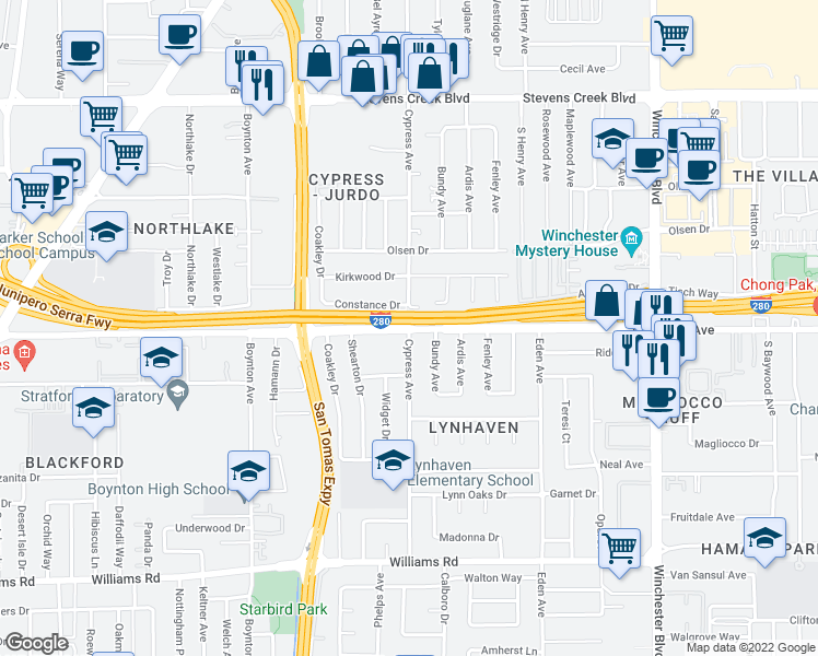 map of restaurants, bars, coffee shops, grocery stores, and more near Moorpark Avenue & South Cypress Avenue in San Jose