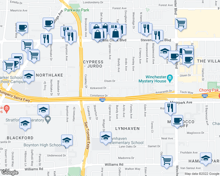 map of restaurants, bars, coffee shops, grocery stores, and more near S Cypress Ave & Kirkwood Dr in San Jose