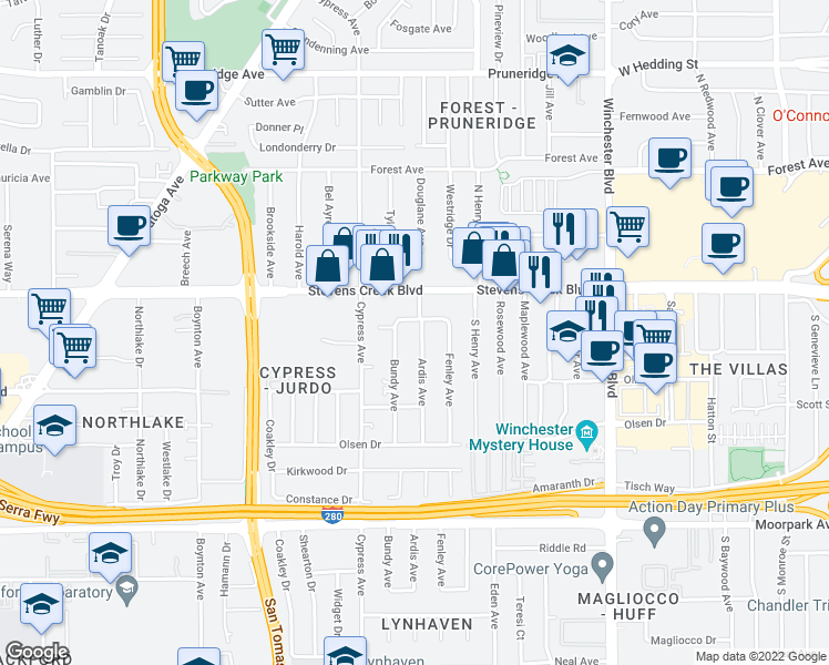 map of restaurants, bars, coffee shops, grocery stores, and more near 351 Ardis Avenue in San Jose