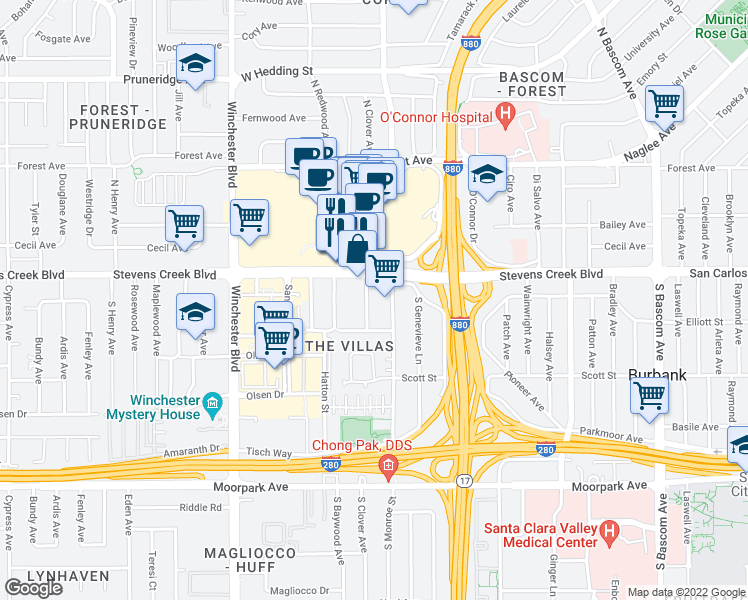 map of restaurants, bars, coffee shops, grocery stores, and more near 2850 Stevens Creek Blvd in San Jose