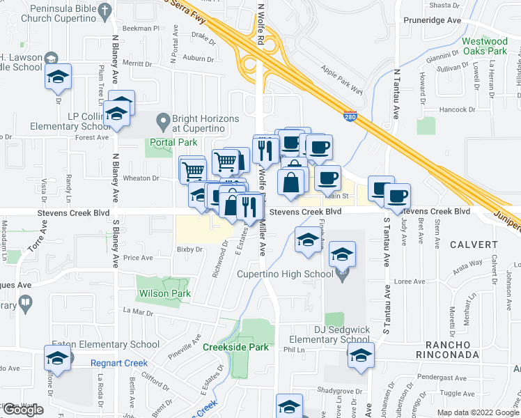 map of restaurants, bars, coffee shops, grocery stores, and more near Stevens Creek Blvd & Miller Ave in Cupertino