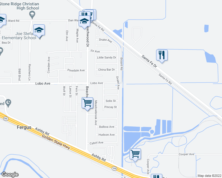 map of restaurants, bars, coffee shops, grocery stores, and more near 2121 Lobo Avenue in Merced
