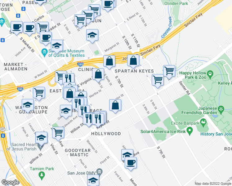 map of restaurants, bars, coffee shops, grocery stores, and more near 955 South 6th Street in San Jose