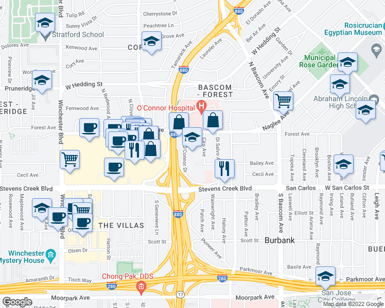 map of restaurants, bars, coffee shops, grocery stores, and more near 350 O'Connor Dr in San Jose