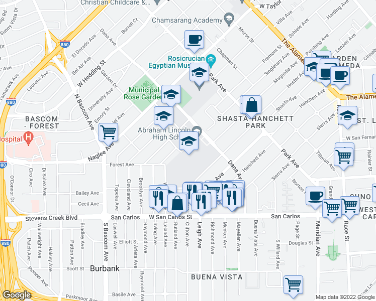 map of restaurants, bars, coffee shops, grocery stores, and more near 555 Dana Ave in San Jose