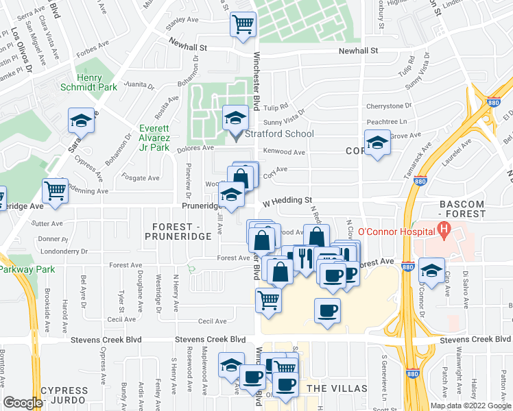 map of restaurants, bars, coffee shops, grocery stores, and more near Pruneridge Ave & N Winchester Blvd in Santa Clara